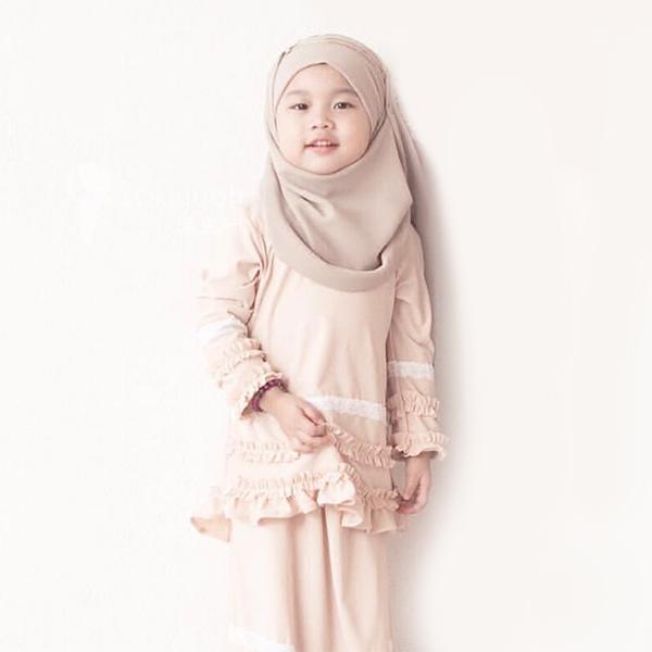 HJB032 穆斯林純色雪紡兒童款方便套頭頭巾