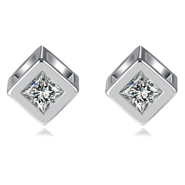 STK001 愛情魔幻幾何方形鋯鑽 耳針/無耳洞黏貼式耳環
