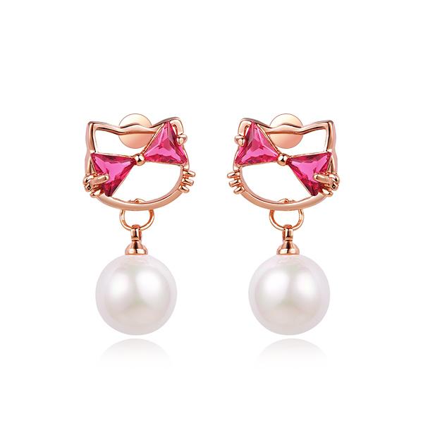 STK271 【專區3件85折】日系小貓珍珠鑲鑽 耳針/無耳洞黏貼式耳環