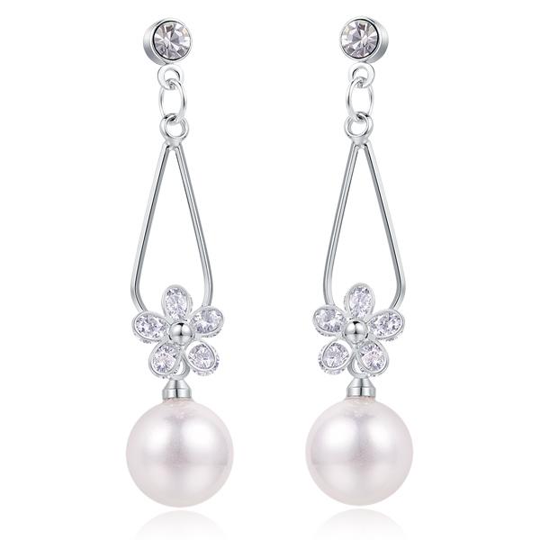 STK182 【專區3件85折】清晰氣質珍珠水滴花瓣 耳針/無耳洞黏貼式耳環