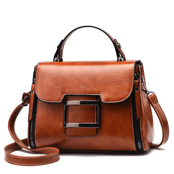 LDB714 復古典雅拉鍊側背手提包