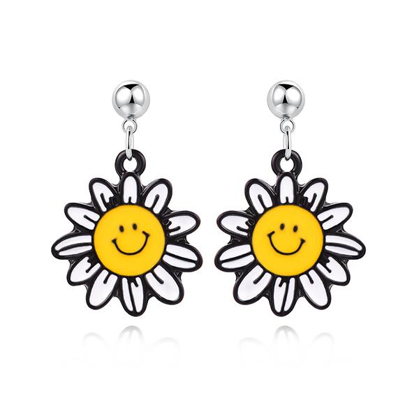 STK464 笑臉陽光向日葵 黏式耳環