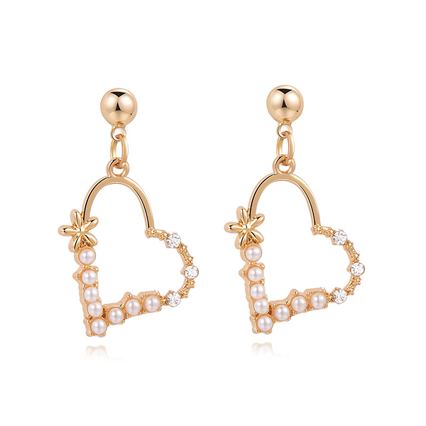 STK335 簍空珍珠愛心鑲鑽 黏式耳環