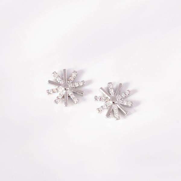 STK397 韓版簡約太陽鑲鑽 無耳洞黏貼式耳環