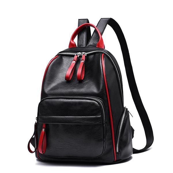 BPK149 韓版純色軟皮休閒後背包