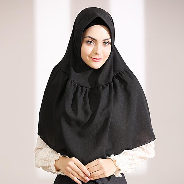 HJB037 穆斯林簡約純色四面彈方便套頭頭巾