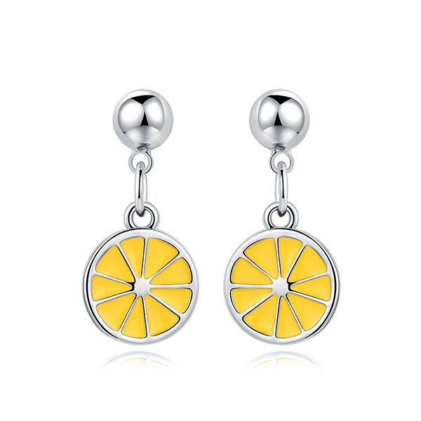 STK390 甜美小清新黃色檸檬 黏式耳環