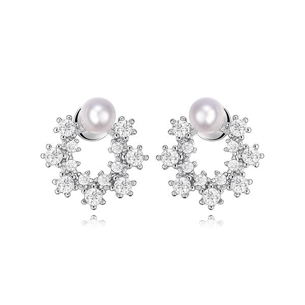 STK343 優雅珍珠花環鑲鑽 黏式耳環