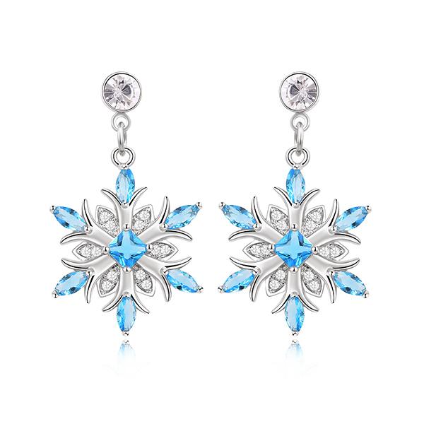 STK296 冷豔冰藍雪花 耳針/黏式耳環
