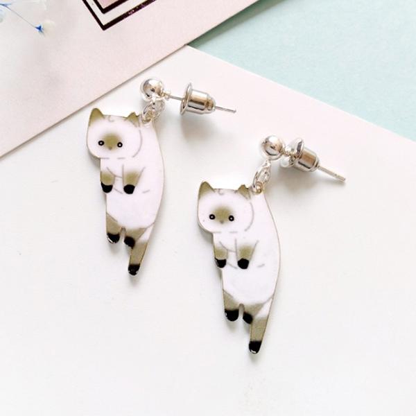 STK246WH-N 白色小貓-耳針款