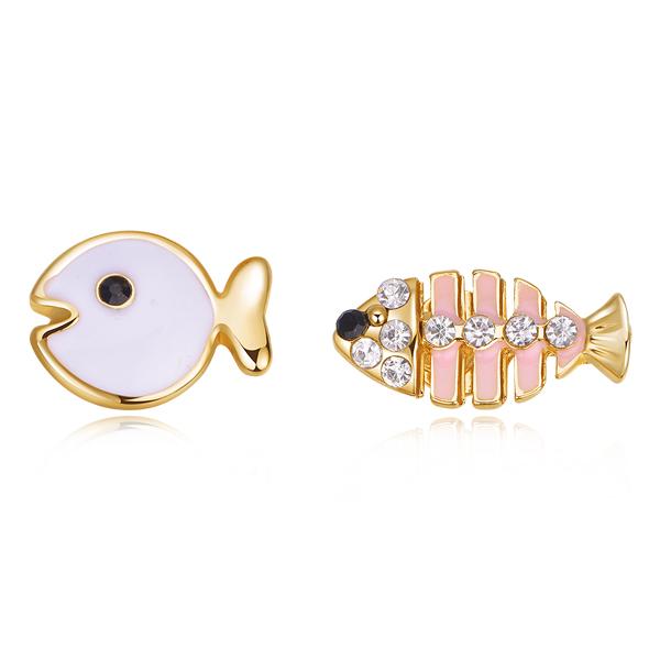STK173 萌趣小魚與魚骨頭不對稱 耳針/無耳洞黏貼式耳環