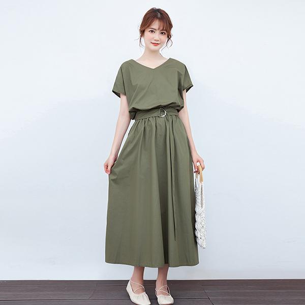 TST138 日系簡約收腰顯瘦連衣裙