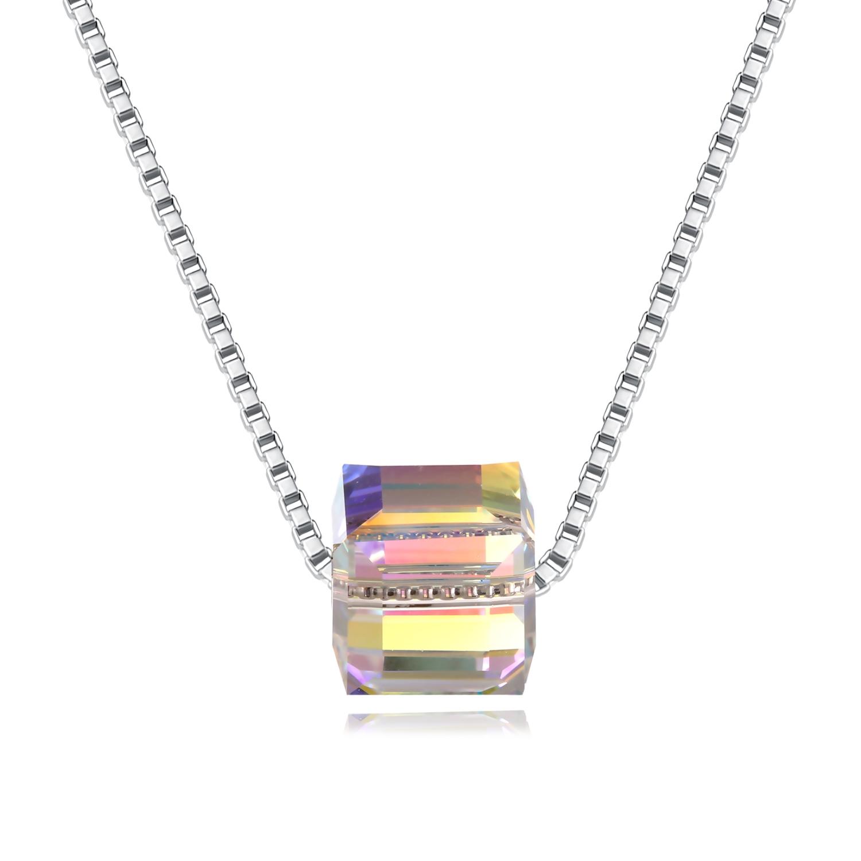 NKC016 炫彩耀眼極光水晶方塊S925純銀項鍊