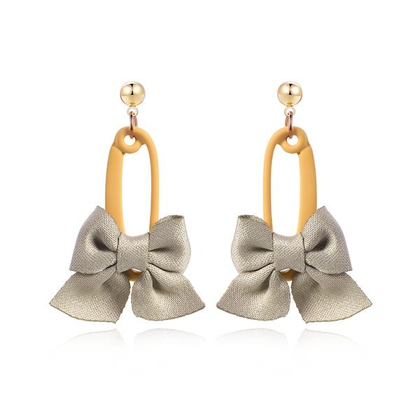 STK357 可愛馬卡龍色系蝴蝶結 耳針/黏式耳環