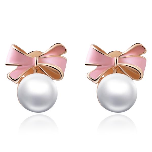 STK123 甜美可愛蝴蝶結珍珠 耳針/無耳洞黏貼式耳環