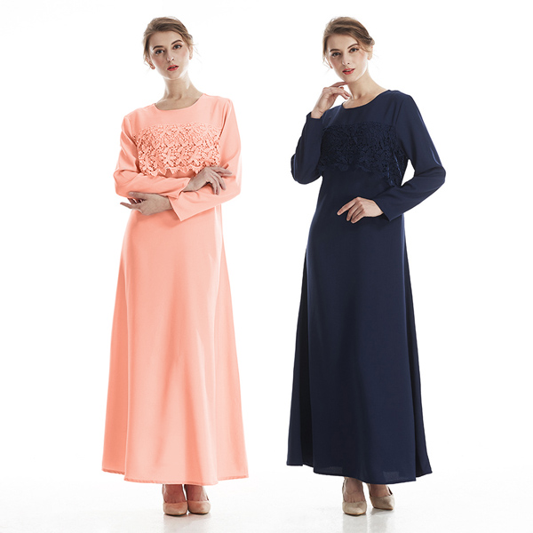 TST081 純色氣質蕾絲簍空連衣長裙