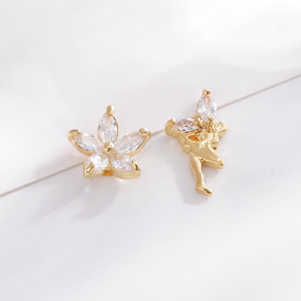 STK152 水晶山茶花精靈不對稱 無耳洞黏貼式耳環