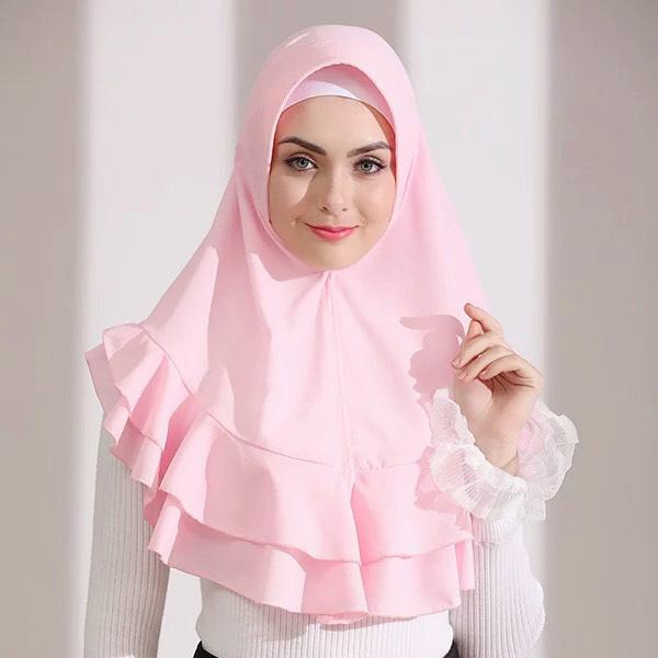 HJB035 穆斯林純色泡泡雪紡方便套頭頭巾