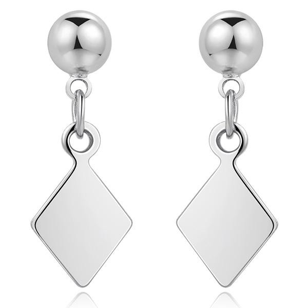 STK502 【專區3件85折】百搭簡約幾何菱形 耳針/ 無耳洞黏貼式耳環