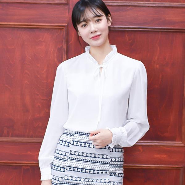 TST093 甜美蝴蝶結荷葉邊純色長袖襯衫