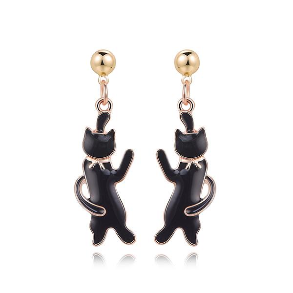 STK420 可愛緞帶黑色小貓 黏式耳環