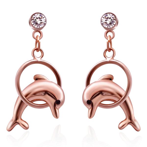 STK102 可愛鍍金小海豚 耳針/無耳洞黏貼式耳環