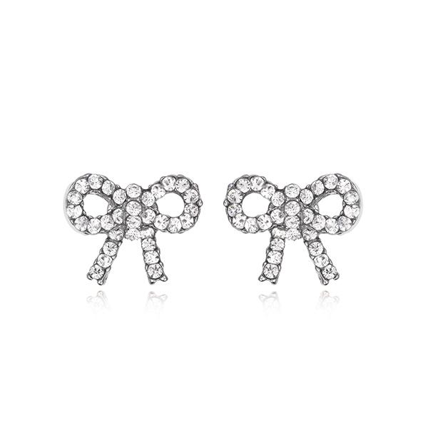 STK413 精緻小巧蝴蝶結滿鑽 黏式耳環