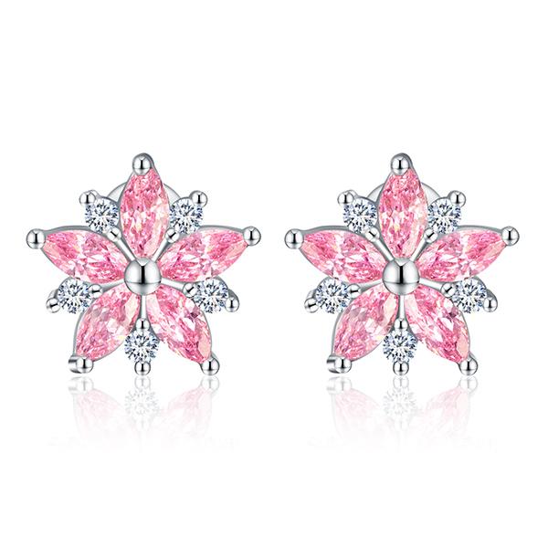 STK396 甜美粉嫩櫻花鑲鑽 黏式耳環