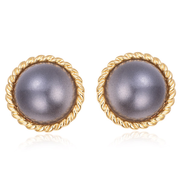STK201 簡約復古灰色大珍珠 無耳洞黏貼式耳環