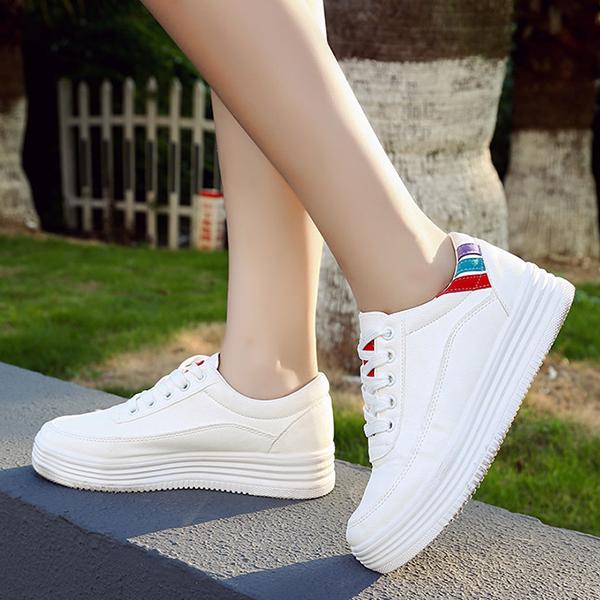 SHE028 韓版圓頭休閒厚底小白鞋