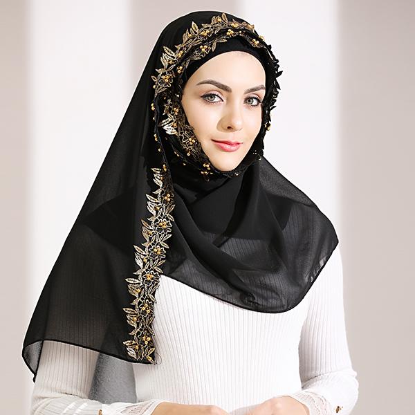 HJB026 穆斯林雪紡奢華金邊款長頭巾