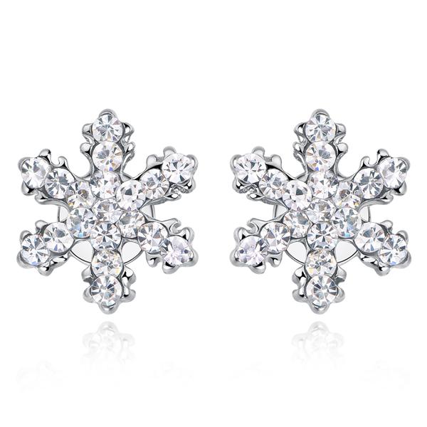 STK137 可愛亮麗滿鑽雪花 無耳洞黏貼式耳環