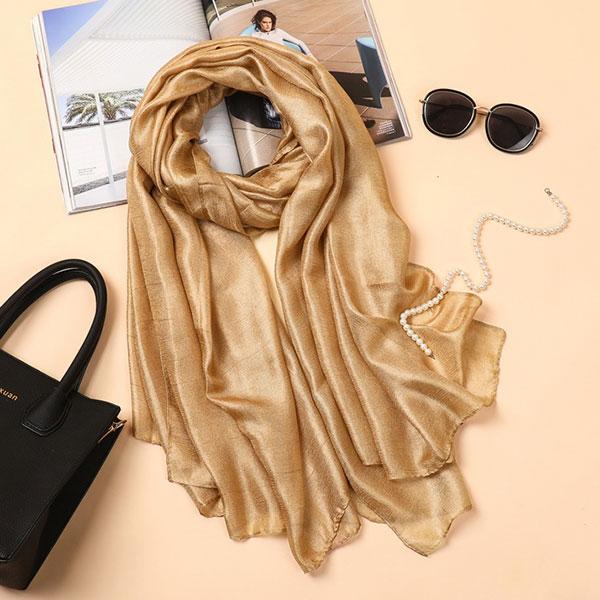 SHJ021 穆斯林純色透亮亞麻長巾