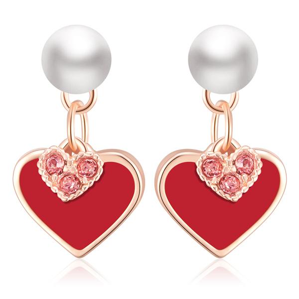 STK267 【專區3件85折】甜美心形珍珠 耳針/無耳洞黏貼式耳環