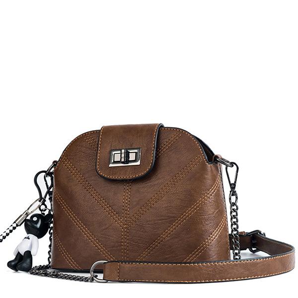LDB676 韓版V繡線小熊鏈條側背包