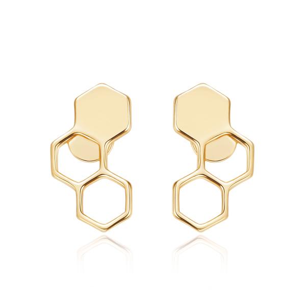 STK225 時尚幾何設計蜂巢黏式耳環