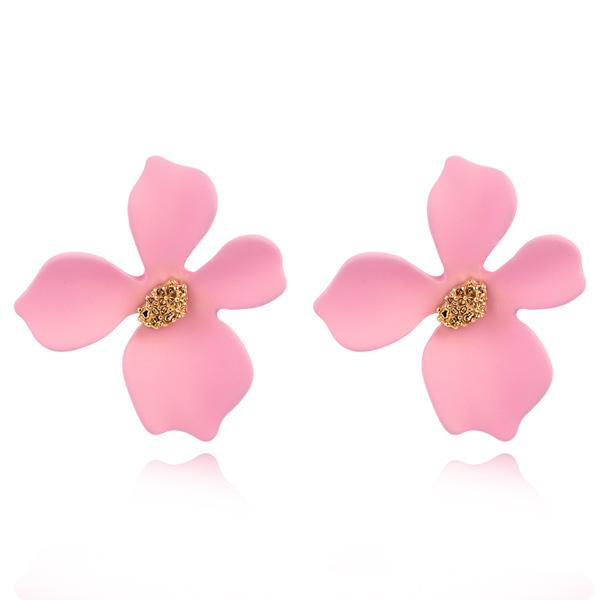 STK412 粉嫩少女心優雅花瓣 無耳洞黏貼式耳環