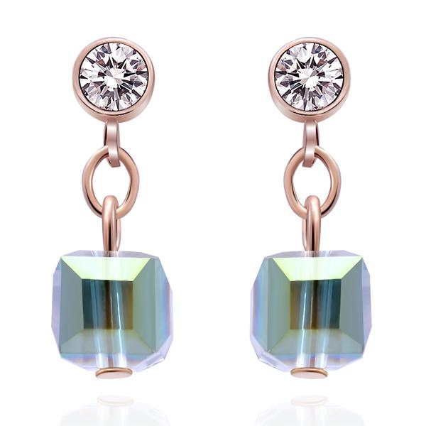 STK093 愛情魔方多彩玻璃 耳針/無耳洞黏貼式耳環