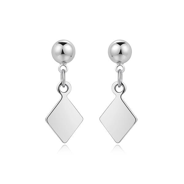STK502 百搭簡約幾何菱形 耳針/ 黏式耳環