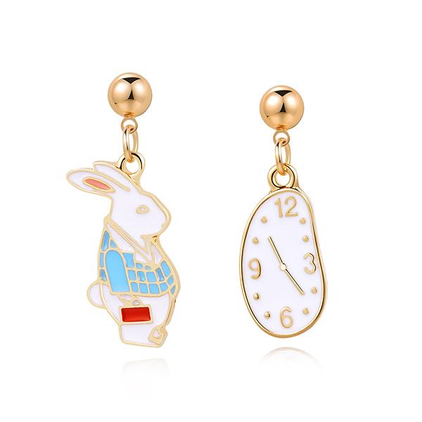 STK262 愛麗絲鐘錶與兔子 耳針/黏式耳環