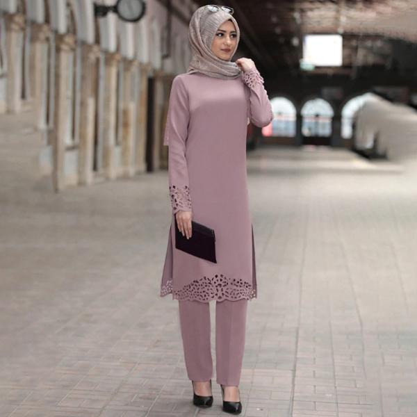 TST128 春夏新款穆斯林燒花兩件套長袍連衣裙