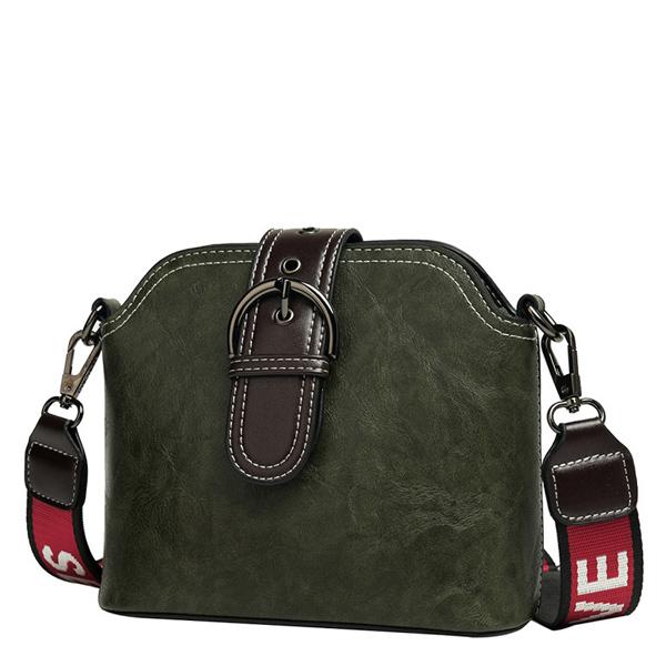LDB729 純色針扣寬肩帶水桶包