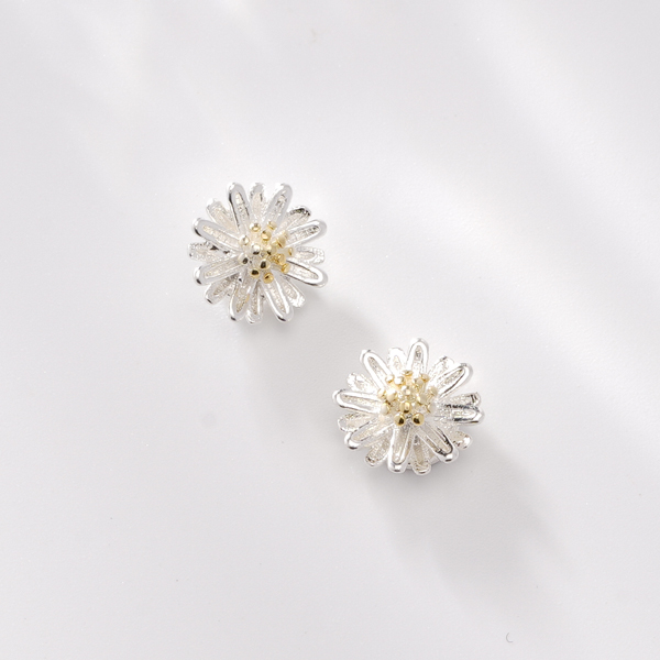 STK004 清新優雅小雛菊 耳針/無耳洞黏貼式耳環