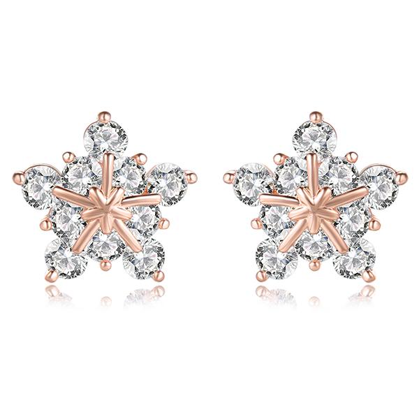 STK014 高雅氣質冷豔冰晶雪花鋯鑽 耳針/無耳洞黏貼式耳環