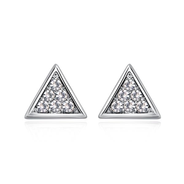 STK149 精緻立體三角 耳針/黏式耳環