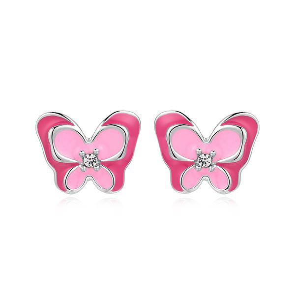 STK453 【迎春童款75折】桃粉鑲鑽雙層蝴蝶 黏式耳環