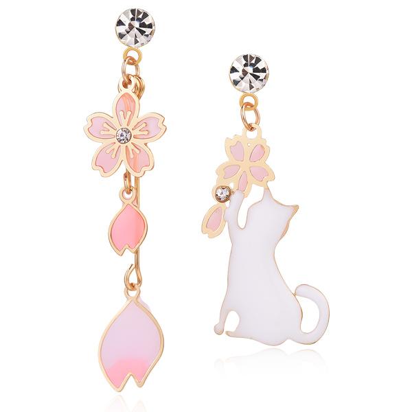 STK555 不對稱櫻花貓咪 耳針/無耳洞黏貼式耳環