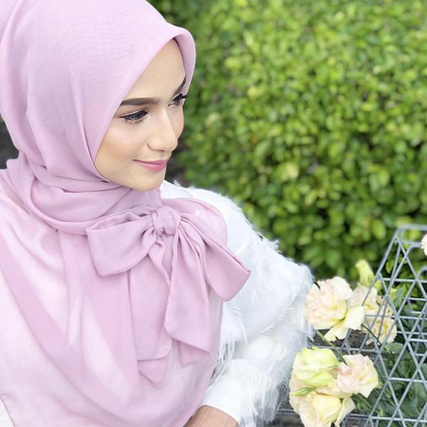 HJB033 穆斯林絨雪紡純色蝴蝶結方巾