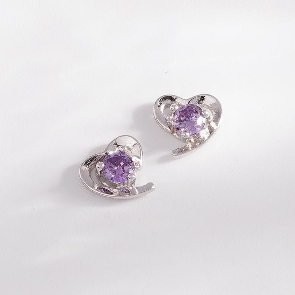 STK127 璀璨愛情紫水晶 耳針/無耳洞黏貼式耳環
