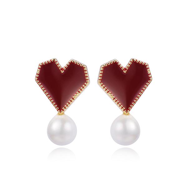 STK339 韓系時尚愛心珍珠 黏式耳環